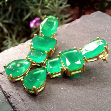 18ct Gold Plated Drop Earrings with Green Crystals