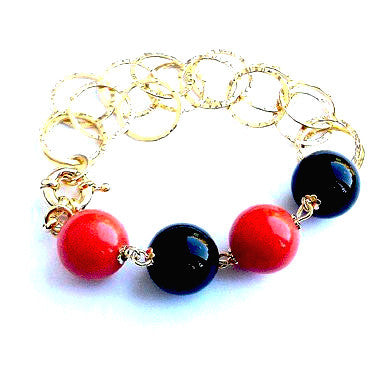 18ct Gold Plated Bracelet with Orange Coral and Onyx