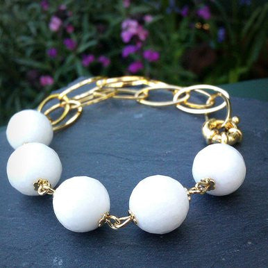 18ct Gold Plated Bracelet with White Jade
