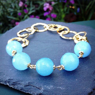 18ct Gold Plated Bracelet with Light Blue Jade