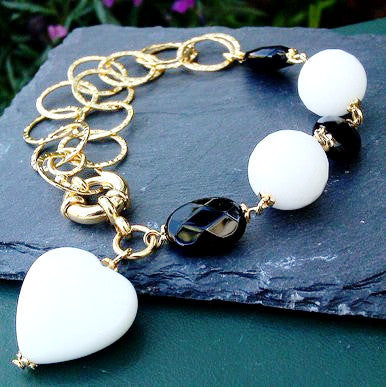 18ct Gold Plated Bracelet with Onyx and White Jade