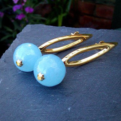 18ct Gold Plated Earrings Light Blue Jade