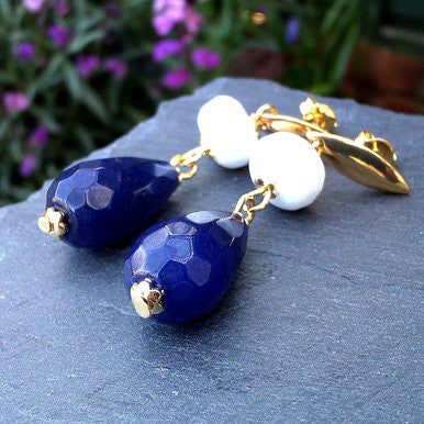 18ct Gold Plated Earrings with Nightstone and White Jade