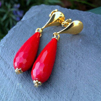 18ct Gold Plated Earrings with Red Jade