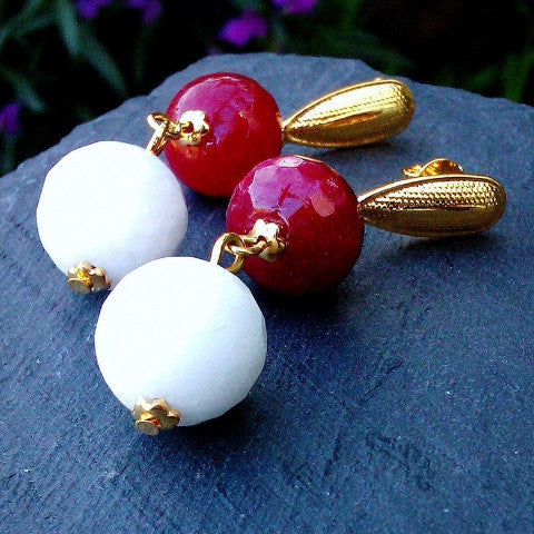 18ct Gold Plated Earrings with Red and White Jade
