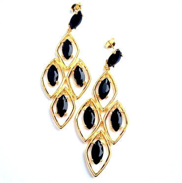 18ct Gold Plated Fancy Earrings with Small Black Crystal Pendants
