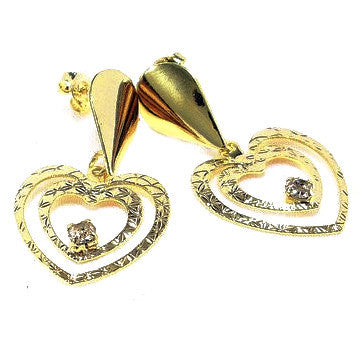 18ct Gold Plated Two Hearts and Strass Stone Earrings