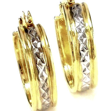 18ct Gold Plated Hoop Earrings with Rhodium Detail