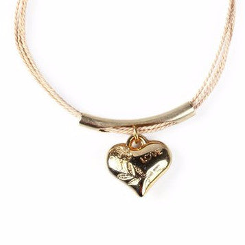 Gold Plated Large Metal Love Charm with Buriti Palm Straw Bracelet