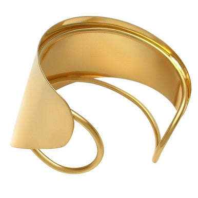18ct Gold Plated Maxi Cuff Bracelet Plain