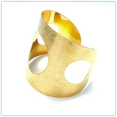 18ct Gold Plated Maxi Cuff Bracelet with Circular Cutouts