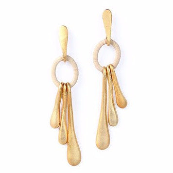 Gold Plated Metal Drop Earrings with Buriti Palm Straw