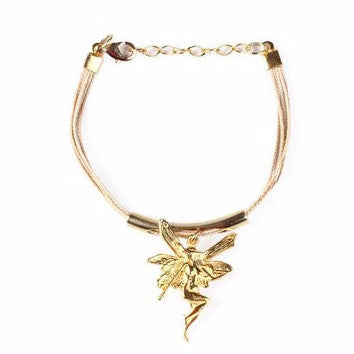 Gold Plated Metal Fairy Charm with Buriti Palm Straw Bracelet