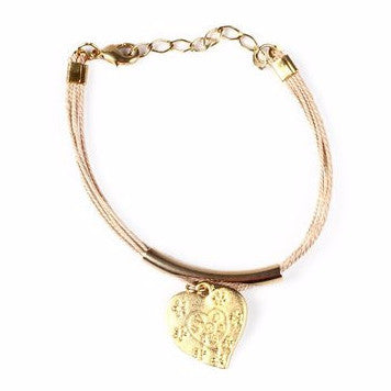 Gold Plated Metal Love Charm with Buriti Palm Straw Bracelet