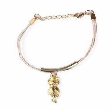 Gold Plated Metal Owl Charm with Buriti Palm Straw Bracelet