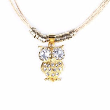 Gold Plated Metal Owl Pendant with Buriti Palm Straw Necklace