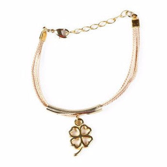 Gold Plated Metal Shamrock Charm with Buriti Palm Straw Bracelet