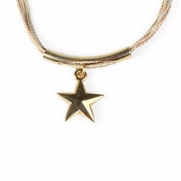 Gold Plated Metal Star Charm with Buriti Palm Straw Bracelet