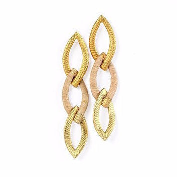 Gold Plated Three Ovals Metal Earrings with Buriti Palm Straw Detail