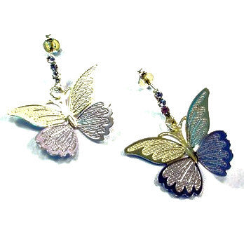18ct Gold Plated (Green Finish) Butterfly Earrings with Rhodium Detail