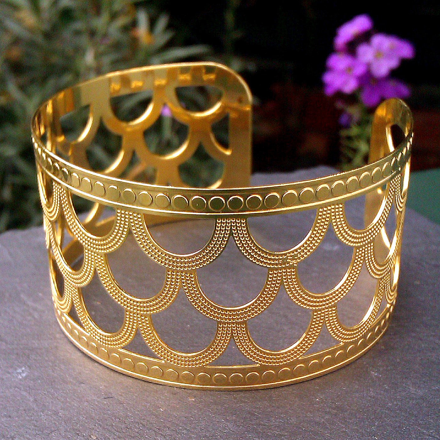 Gold Plated Oriental Style Cuff