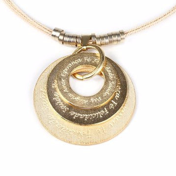 Gold Plated Metal Inspirational Discs Pendant with Buriti Palm Straw Necklace