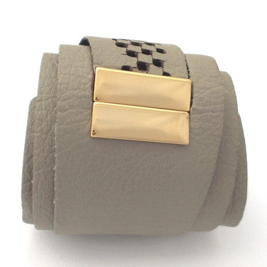 Khaki Leather Bracelet with 18ct Gold Plated Clasp