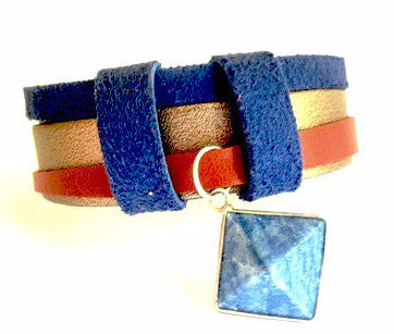 Snake, Brown and Blue Suede Leather Bracelet with Sodalite Pyramid Charm