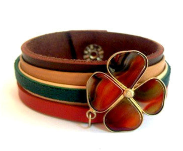 Green, Beige and Brown Leather Bracelet with Tiger Eye Shamrock Charm