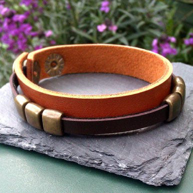 Narrow Brown Leather Bracelet with Metal Buckles