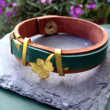 Narrow Green and Copper Leather Bracelet with Shamrock Ornament