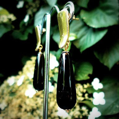 18ct Gold Plated Earrings with Onyx
