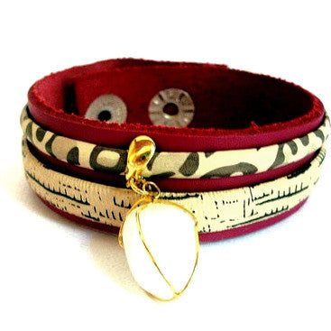 Red and Animal Print Leather Bracelet with White Agate
