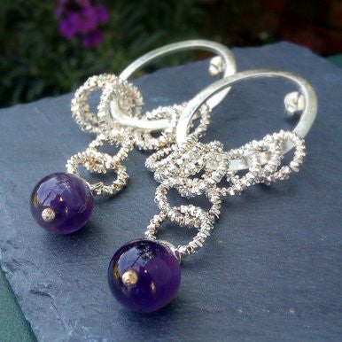 Silver Plated Earrings with Amethyst