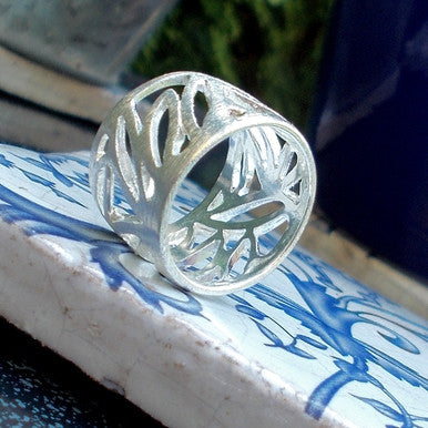 Silver Plated Brushed Leaf Design Ring