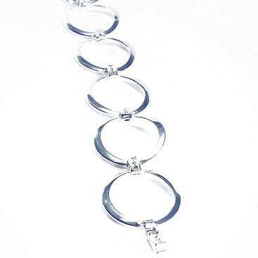 Silver Plated Chain Bracelet with Small CZ