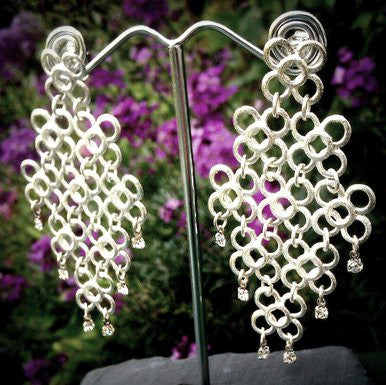 Silver Plated Chain Mesh Earrings with Strass Stones