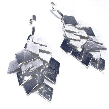 Silver Plated Contemporary Leaf Design Earrings