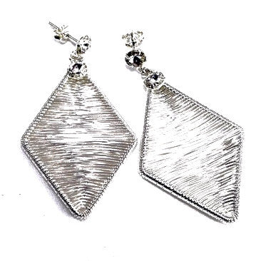 Silver Plated Diamond Shaped Earrings with Strass Stones