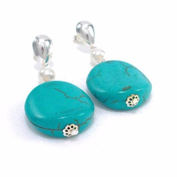 Silver Plated Drop Earrings with Turquoise and Pearl