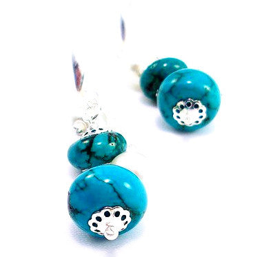 Silver Plated Earrings with Turquoise and Pearls