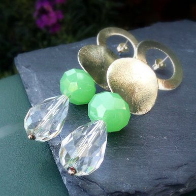 Silver Plated Disc Earrings with Green Agate and Crystal