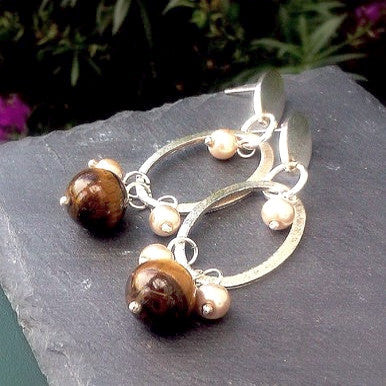 Silver Plated Earrings with Tiger Eye and Pearls