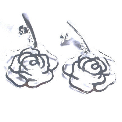 Silver Plated Elegant Rose Earrings