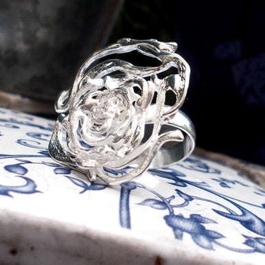 Silver Plated Elegant Rose Ring with Zirconia