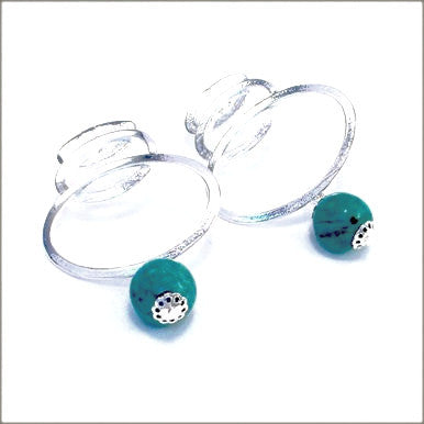 Silver Plated Fancy Earrings with Turquoise