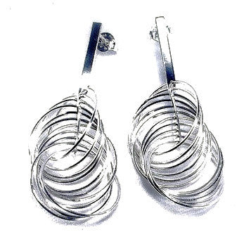Silver Plated Fancy Spiral Effect Earrings