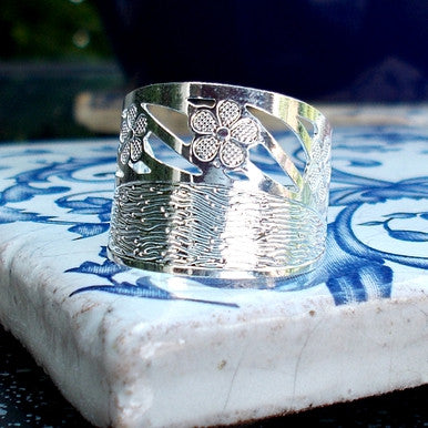 Silver Plated Ring with Flower Detail