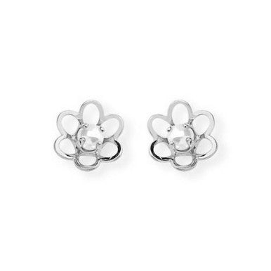 Silver Plated Flower Shaped Stud Earrings with Pearl Effect