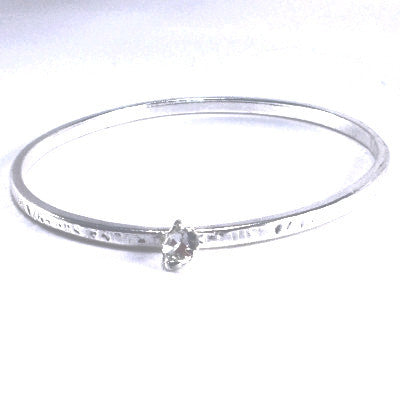Silver Plated Inspirational Bangle with Strass Stone